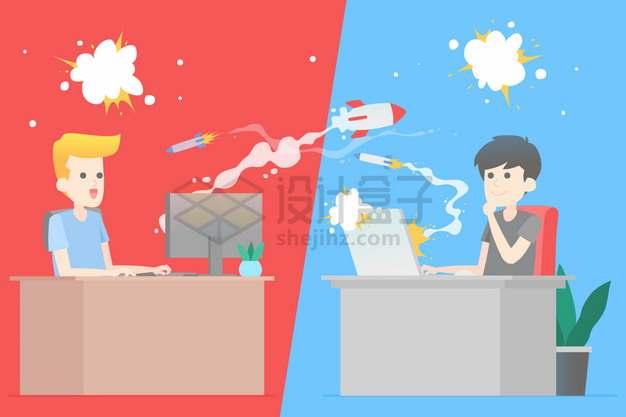 两个同事之间相互发射火箭和导弹象征了办公室职场文化png图片素材