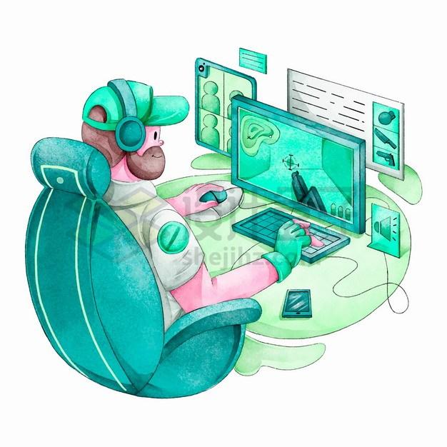 卡通男人正在玩电脑游戏上瘾水彩插画png图片素材 休闲娱乐-第1张