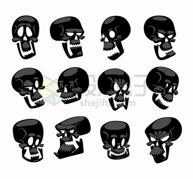 12款卡通表情黑色骷髅头png图片素材 健康医疗-第1张