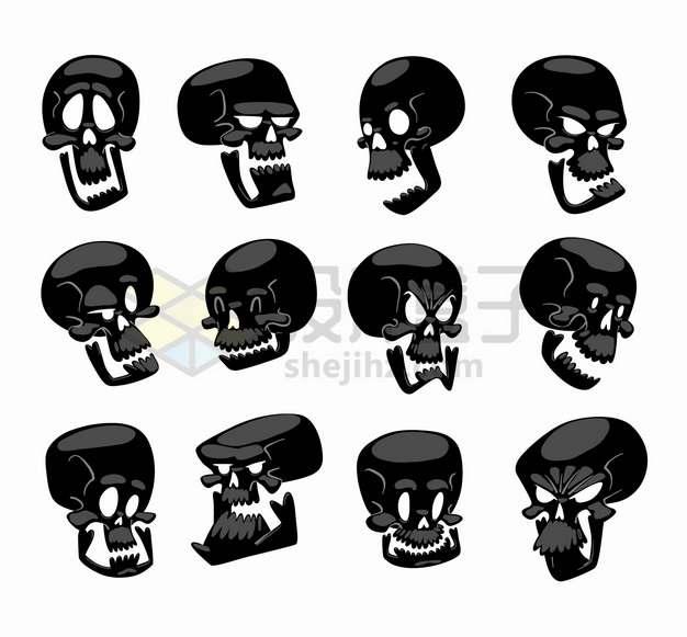 12款卡通表情黑色骷髅头png图片素材