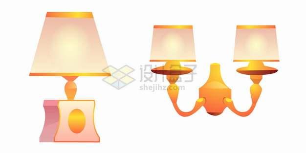 温暖的复古风格台灯和墙壁灯png图片素材