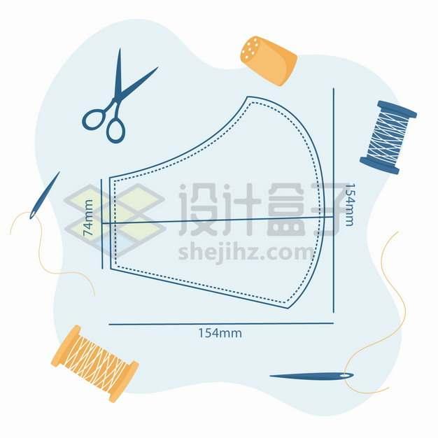 自制口罩尺寸和设计图纸png图片素材