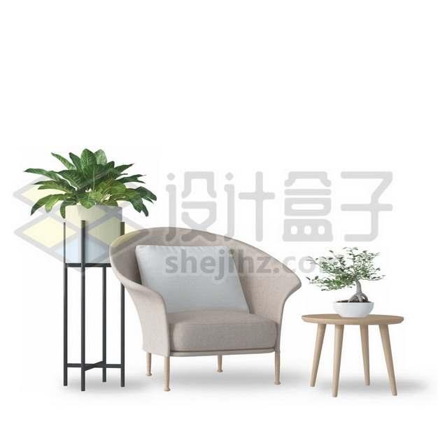 小清新风格的单人沙发和盆栽家庭装修901468psd/png图片素材
