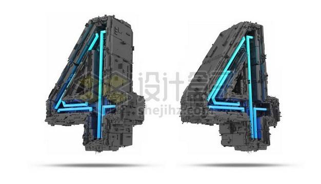 C4D风格蓝色灯光黑色科幻3D立体数字四4艺术字体791789psd/png图片素材 字体素材-第1张