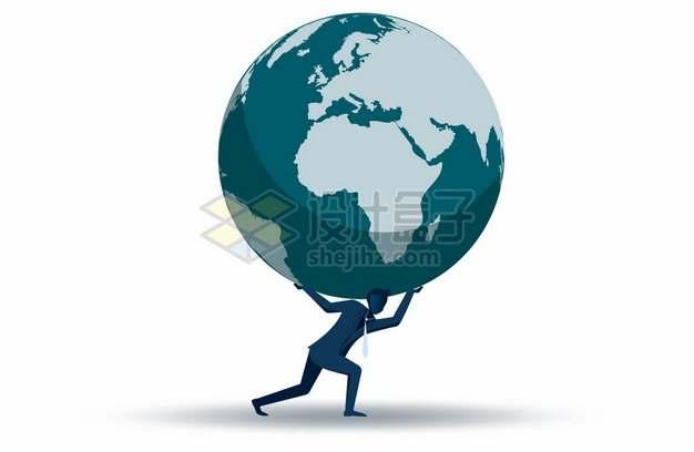 商务人士扛着托举着地球892348png矢量图片素材