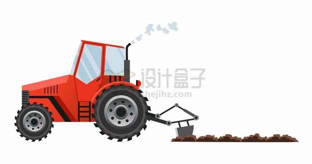 红色农用拖拉机耕田犁地png图片素材