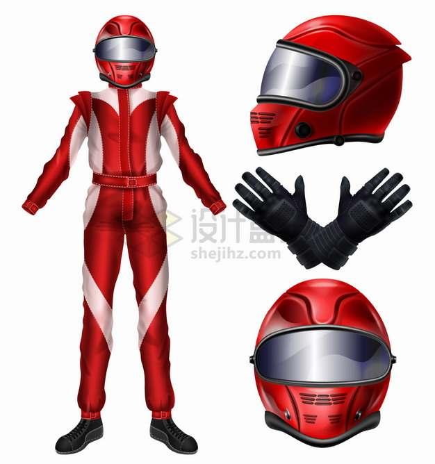 红色衣服的摩托车赛车手服装和头盔手套png图片素材