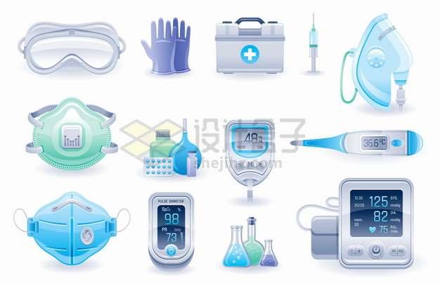 护目镜手套医疗箱防护面具N95口罩手指夹式血氧仪脉搏检测器等医疗用品png图片素材