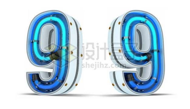 C4D风格蓝色霓虹灯管3D立体数字九9艺术字体257092psd/png图片素材