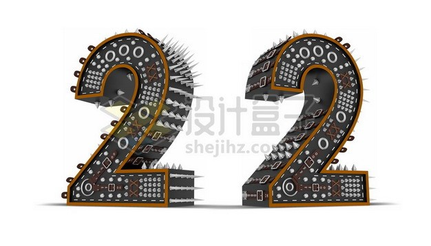 C4D风格尖刺黑色3D立体数字二2艺术字体198276psd/png图片素材 字体素材-第1张