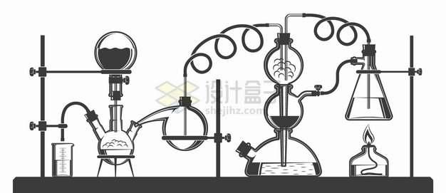 启普发生器蒸馏烧瓶锥形瓶酒精灯烧杯等化学实验仪器手绘插画png图片素材