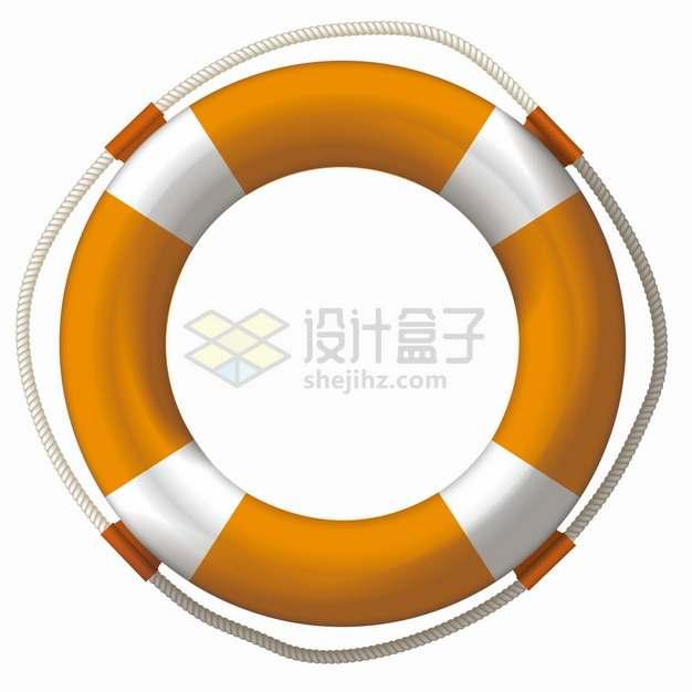黄白相间的救生圈游泳圈png图片素材