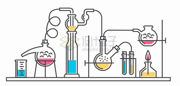 酒精灯烧杯蒸馏烧瓶等化学实验仪器手绘线条插画png图片素材