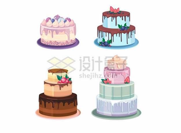 4款多层奶油蛋糕结婚蛋糕932277png矢量图片素材