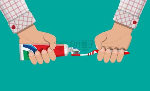 一双手挤牙膏到牙刷上png图片素材