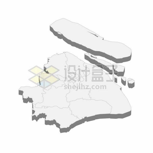 上海市地图3D立体阴影行政划分地图937910png矢量图片素材