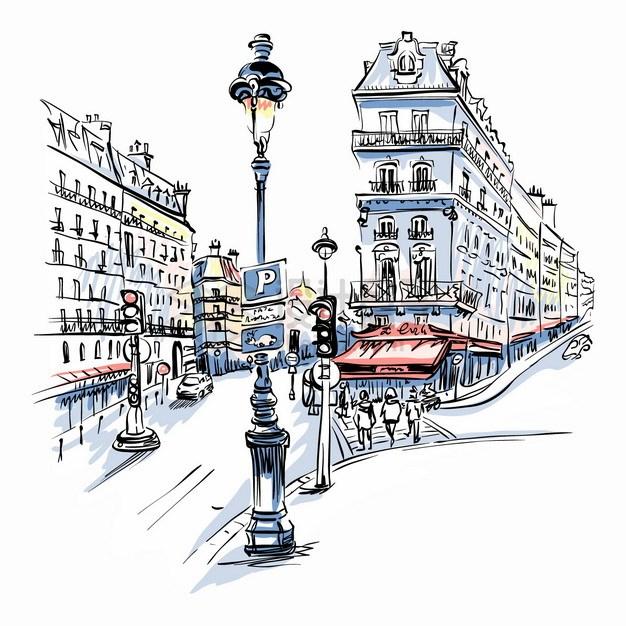 城市街头欧洲小镇风景水彩插画png图片素材 建筑装修-第1张
