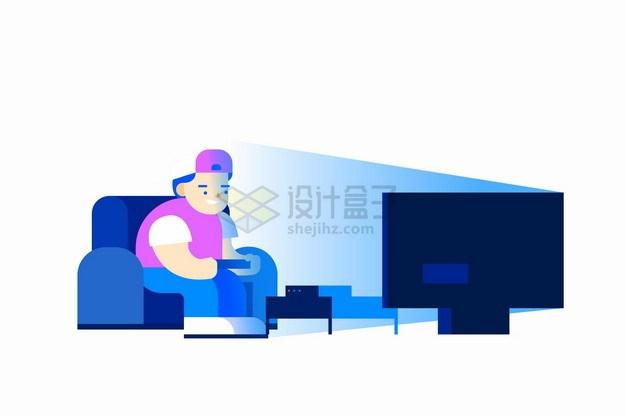 卡通男孩坐在沙发上玩游戏上瘾png图片素材 休闲娱乐-第1张