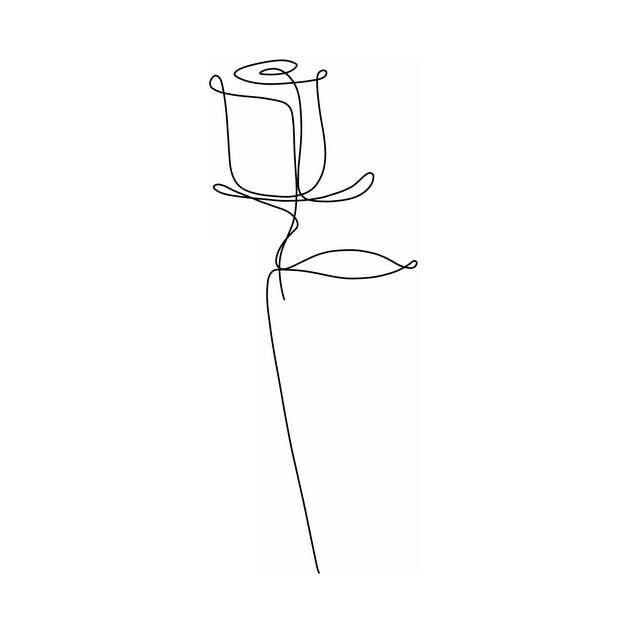 线条玫瑰花花朵961720png图片素材