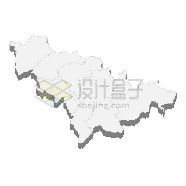 吉林省地图3D立体阴影行政划分地图760510png矢量图片素材