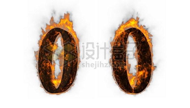 C4D风格燃烧着火焰的3D立体数字零0艺术字体515404psd/png图片素材 字体素材-第1张