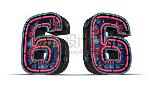 C4D风格红黑色3D立体数字六6艺术字体964927psd/png图片素材