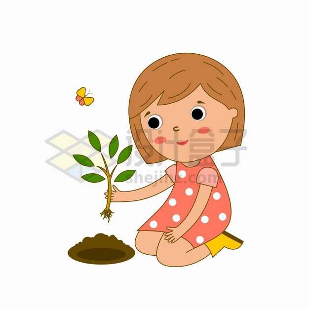 卡通小女孩正在种小树苗植树节儿童插画png图片素材