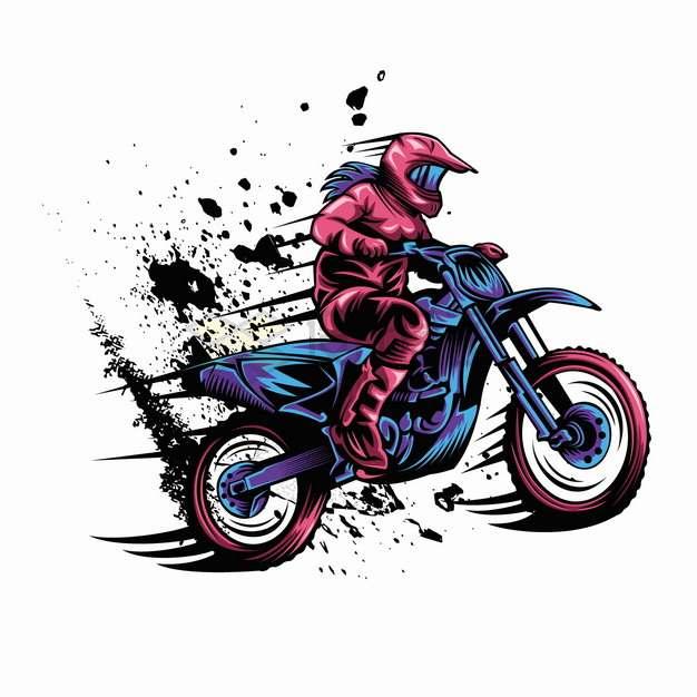 越野摩托车飞溅的泥点卡通漫画插画png图片素材