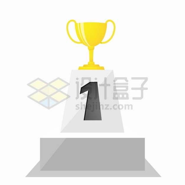 获得第一名的奖杯金杯png图片素材