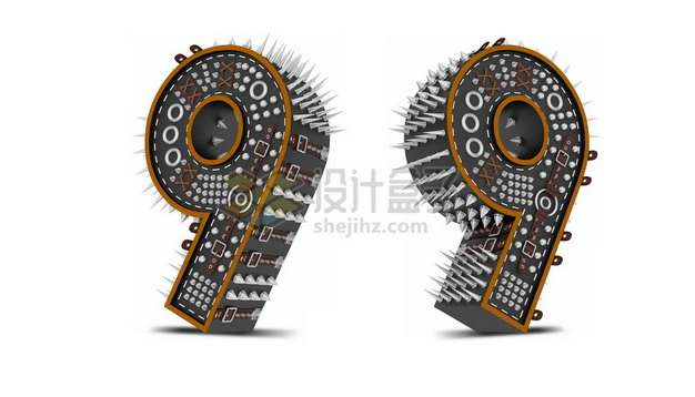C4D风格尖刺黑色3D立体数字九9艺术字体312785psd/png图片素材