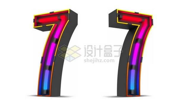 C4D风格紫红色霓虹灯管效果3D立体数字七7艺术字体266662psd/png图片素材