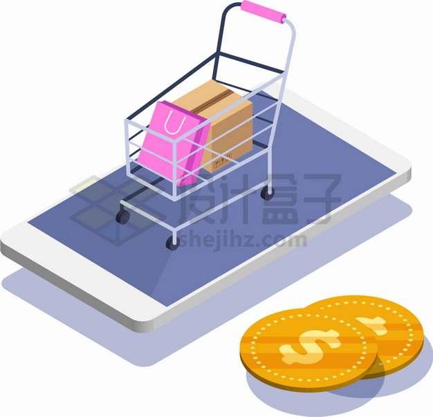 2.5D风格手机上的超市购物车和金币象征了网络购物手机购物png图片素材