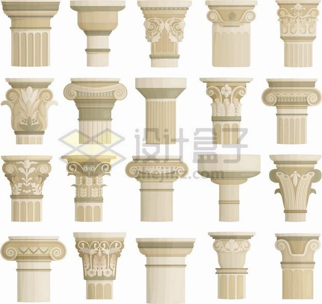 20款欧洲花岗岩柱子的顶部装饰复古花纹png图片素材 建筑装修-第1张