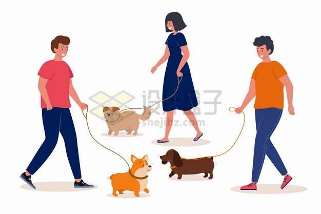3个牵狗遛狗散步的年轻人png图片素材