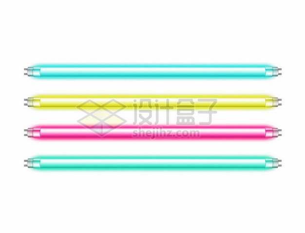 4根彩色的霓虹灯日光灯灯管884877png矢量图片素材