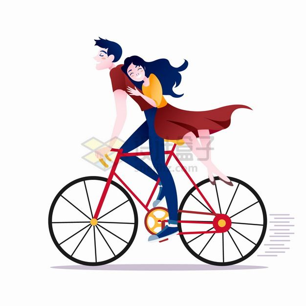 卡通男孩骑自行车带着女朋友去兜风png图片素材