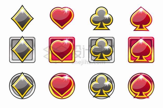 彩色扑克牌黑桃红桃梅花方块水晶按钮png图片素材