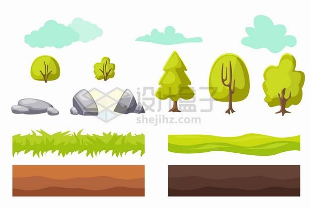 卡通云朵树木大树石头草地土壤等png图片素材 生物自然-第1张