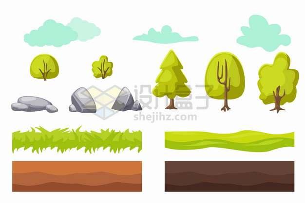 卡通云朵树木大树石头草地土壤等png图片素材