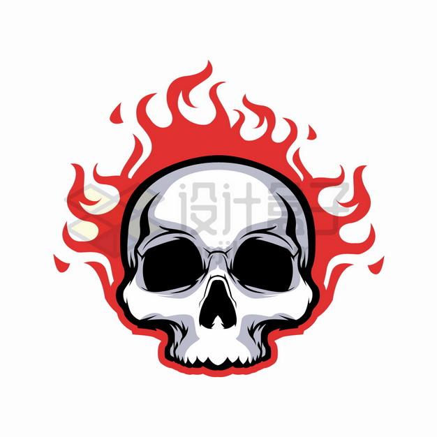 黑色头盖骨骷髅燃烧着火焰图案png图片素材 标志LOGO-第1张