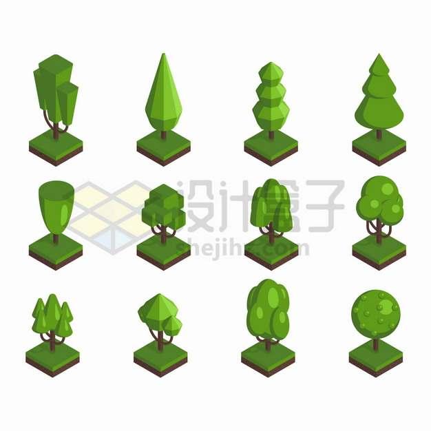 12款2.5D风格多边形大树绿树园林公园植物png图片素材