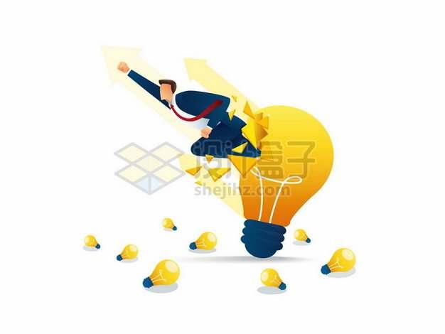 商务人士冲破电灯泡象征了突破思维局限性998366png矢量图片素材
