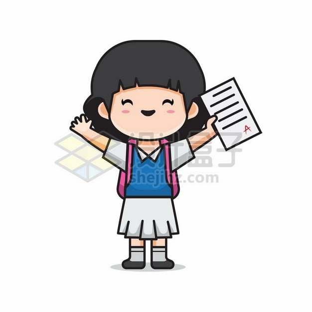 考试得了100分满分的卡通小女孩718543png矢量图片素材