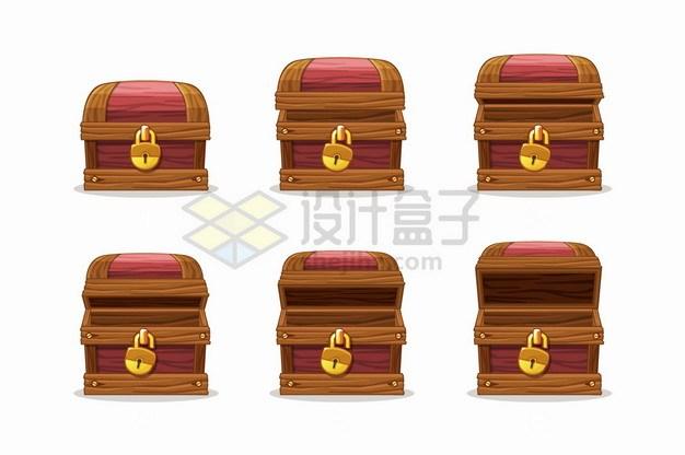 逐步打开的木箱游戏宝物箱png图片素材 休闲娱乐-第1张