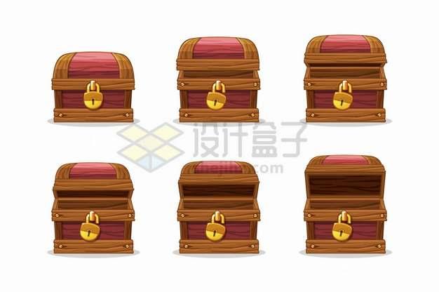逐步打开的木箱游戏宝物箱png图片素材