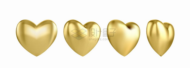 金色3D立体心形气球的4个不同角度png图片素材 漂浮元素-第1张