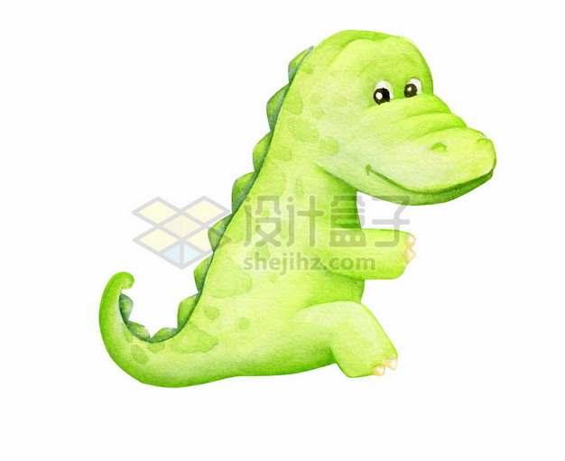 超可爱的水彩画风格绿色卡通恐龙129777png矢量图片素材