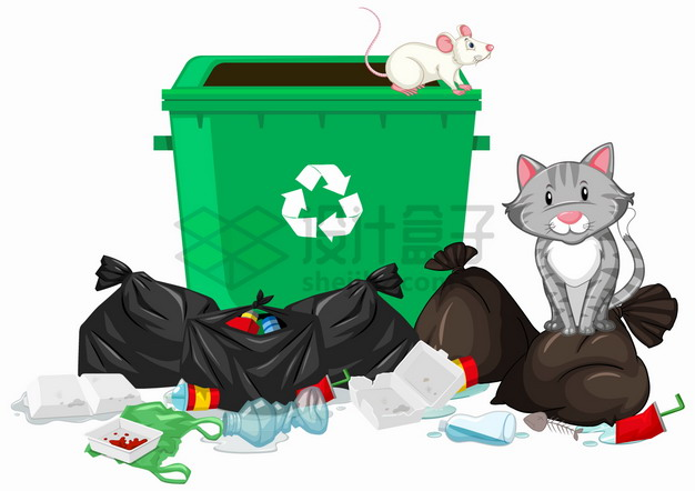 乱扔垃圾会导致老鼠泛滥png图片素材 生活素材-第1张
