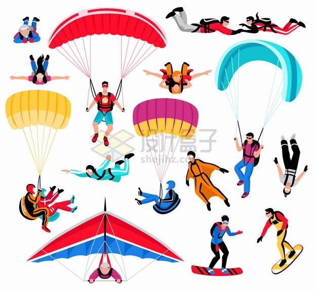 用降落伞高空跳伞滑翔伞极限运动png图片素材
