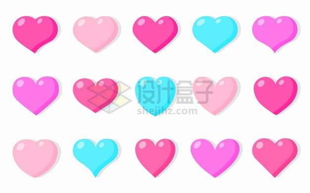 15款彩色卡通心形符号爱心红心图案png图片素材